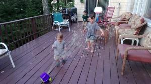 He loves bubbles!